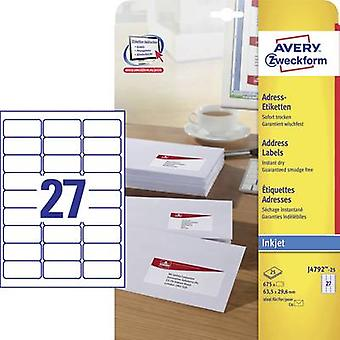Avery-Zweckform Address labels, All-purpose labels J4792-25 63.5 x 29.6 mm Paper White 675 pc(s)