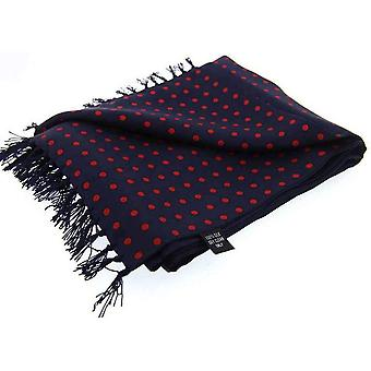 David Van Hagen Polka Dot Luxury Fashion Silk Scarf - Navy/Red