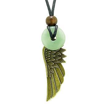 Guardian Angel Wing beskyttelse magiske kræfter Amulet heldig Donut charme grøn kvarts vedhæng halskæde