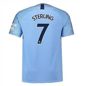 2018-2019 Man City Home Nike Football Shirt (Sterling 7)