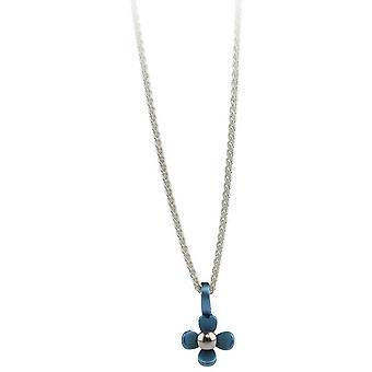 Ti2 Titanium kleine vier Petal Flower Anhänger - Himmelblau