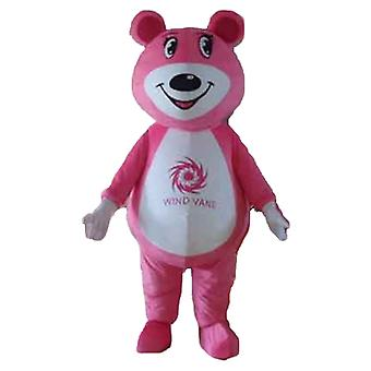mascot SPOTSOUND of pink and white Teddy bear