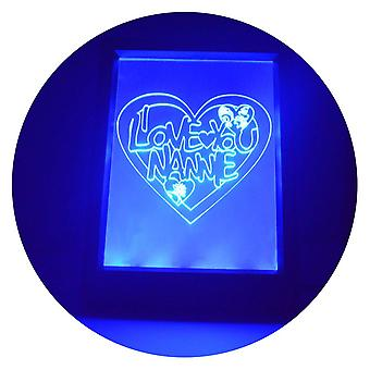I Love You NANNIE Heart Colour Changing RC LED Mirror Light Frame