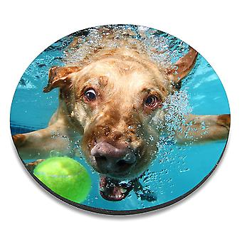 i-Tronixs - Underwater Dog Printed Design Non-Slip Round Mouse Mat for Office / Home / Gaming - 3