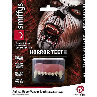Dientes horror, Animal, con los dientes de la chapa superior, blanco