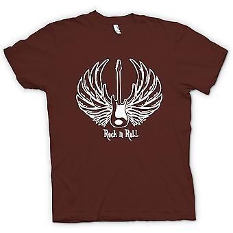 Mens T-shirt-Rock n Roll - Gitarre Wings - Musik