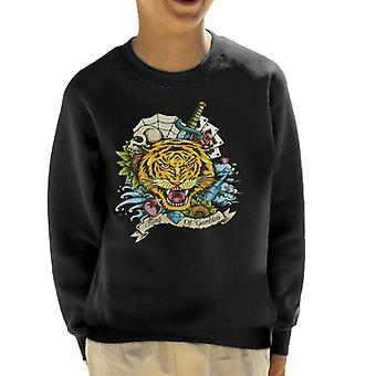 King Of Gamblers Tiger Tattoo Kid's Sweatshirt
