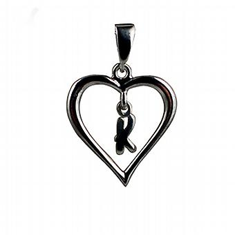 Silver 18x18mm initial K in a heart Pendant