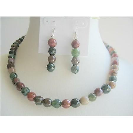 MultiColored Jade Glass Beads 9mm Necklace w/ Sterling Silver Earrings