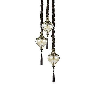 Ideal Lux - Harem Antique Brass And Glass Three Light Pendant IDL115986