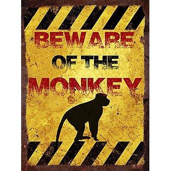 Vintage Metal Wall Sign - Beware of the monkey