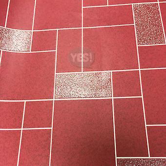 Winchester tegel Wallpaper keuken badkamer afwasbaar Vinyl Glitter rood Holden