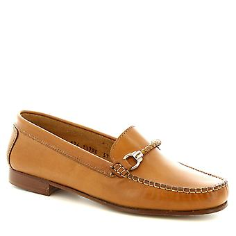 Leonardo Shoes Women's handmade bit loafers in tan calf leather