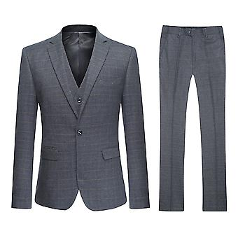 Allthemen Men's One-Button Slim Four Seasons Business Casual 3-Piece Suit Blazer Vest Trousers