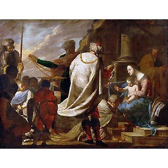 Tilbedelse av Magi, Bernardo Cavallino, 50x40cm