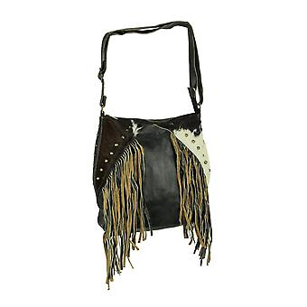 Genuine Leather and Hair-On Hide Fringed Studded Western Crossbody Purse