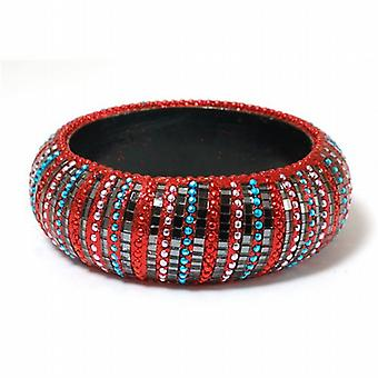 The Olivia Collection Sparkly Red & Blue Wide Wooden Base Metal Bangle