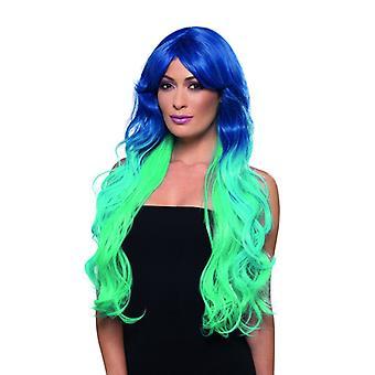 Mermaid parykk ekstra lange Merrjungfrau parykk blå lys blå turkis Carnival motetilbehør