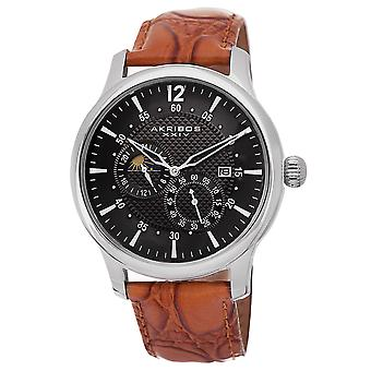 Akribos XXIV Women's Automatic Leather Strap Watch  AK537SSBR