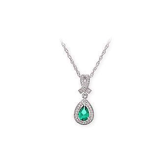 Stjärnan vigselringar Sterling Silverhalsband med smaragdgrön pärla sten hängande och diamanter