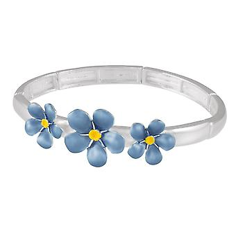 Eternal Collection Forget-Me-Not Blue Enamel Silver Tone Stretch Bangle