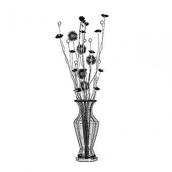 Premier hem blomma lampa, aluminium, Crystal, svart