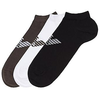 Emporio Armani 3 Pack Big Eagle Logo Trainer Socks, Black / White / Khaki Green, Small (UK 5-7)