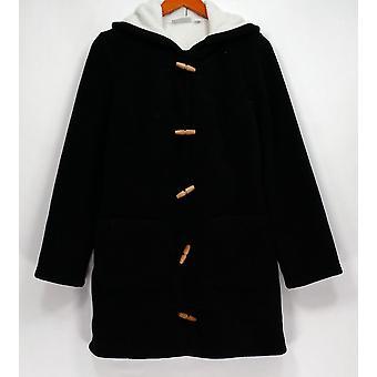 Denim & Co. Long Sleeve Toggle Jacket with Hood Black A285943