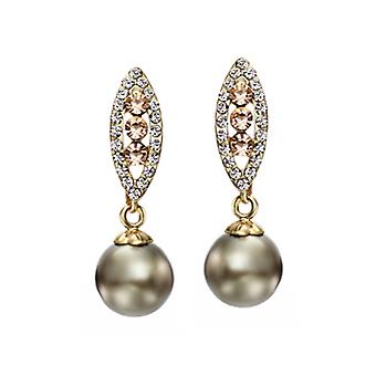14K Gold Plated Grey Simulated Pearl Dangle Earrings, 3cm
