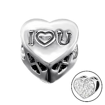 I Love You Heart - 925 Sterling Silver Jewelled Beads - W9930X