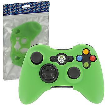 Soft silicone rubber skin grip cover case for microsoft xbox 360 controller - green