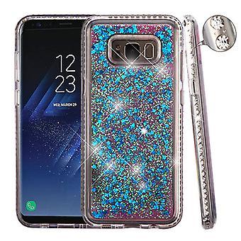 Diamante Frame (T-Clear)/Quicksand (Dark Blue Hearts) Glitter Hybrid Case for Galaxy S8 Plus