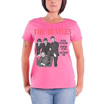 The Beatles T Shirt Please Please Me Official Womens New Pink skinny fit