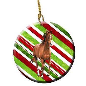 Horse Candy Cane Holiday Christmas Ceramic Ornament SB3139CO1