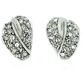Clip On Earrings Store Silver Plated & Swarovski Crystal Twist Clip On Earrings