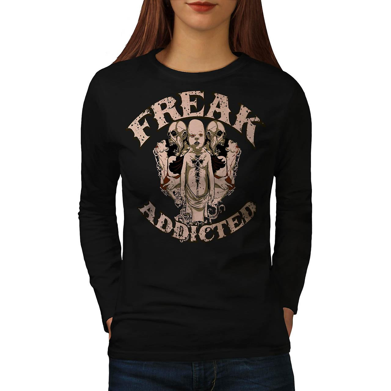 Freak Die Addict Baby Ghost Kids Women Black Long Sleeve T-shirt | Wellcoda