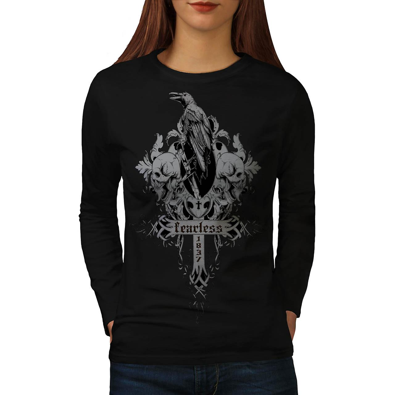 Fearless Death Crow Grave Yard Women Black Long Sleeve T-shirt | Wellcoda