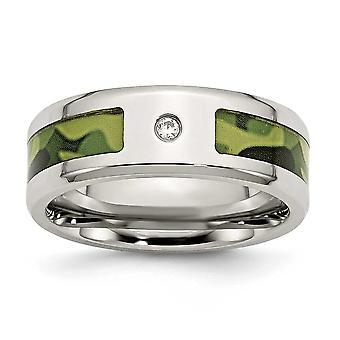 RVS gepolijst met CZ afgedrukt groen Camo onder elastiekje Ring - grootte 11,5