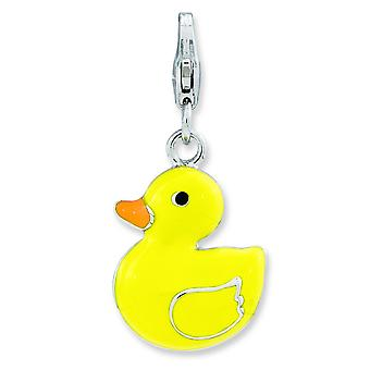 Sterling Silver Rhodium-plated Fancy Lobster Closure Enameled 3-d Duck With Lobster Clasp Charm