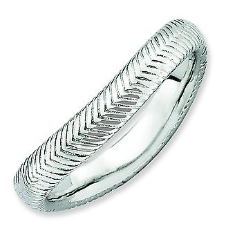 3.25mm Sterling Silver Stackable Expressions Polished Rhodium-plate Wave Ring - Ring Size: 5 to 10