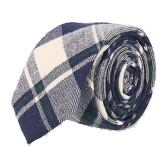 Andrews & co. narrow tie Club tie Plaid Navy green white