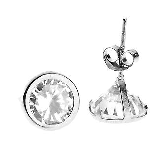 14 K White Gold iced out Stud Earrings - BEZEL round 7 mm