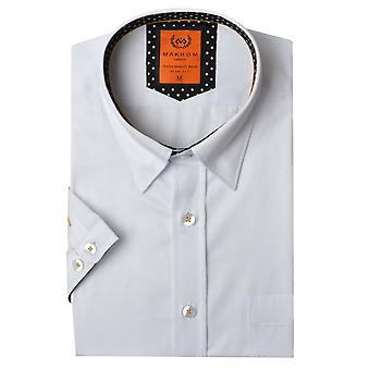 Oscar Banks Short Sleeved Polka Dot Trim Mens Shirt