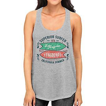 Superieure Surfer LA Longboard Womens grijs mouwloos zomer T-shirt