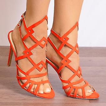 Shoe Closet Ladies Caprice-2 Orange Peep Toes Ankle Strap Strappy Sandals High Heels