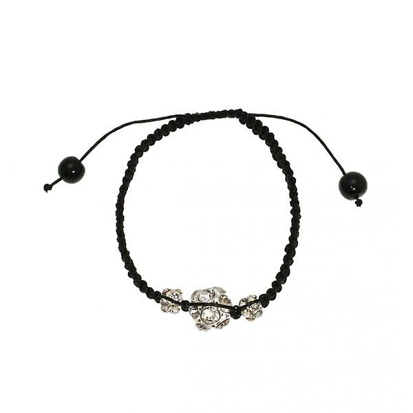 W.A.T Black Macrame And Sparkling Crystal Glitterball Bracelet