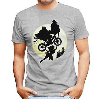 ET Wonder Woman Batman Superman Flying Bike Moon Men's T-Shirt