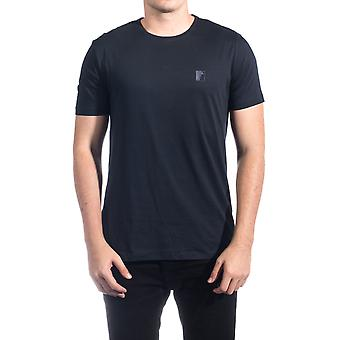 Versace Collection Männer Medusa Logo Rundhals T-Shirt Navy