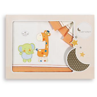 Interbaby Triptych Maxicuna Model Elephant and Giraffe Orange
