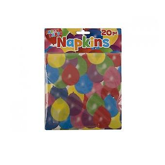 Pack Of 20 Disposable Cream Paper Napkins With Balloon Design